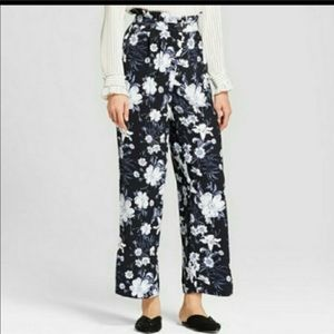 Who What Wear Floral Paper Bag Career Pants